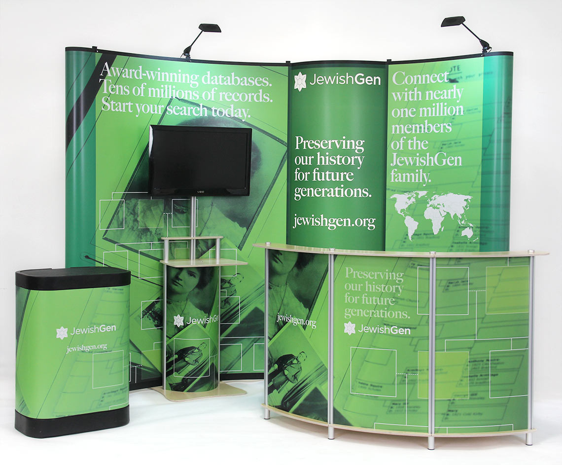 Value 10 ft Pop-Up Display with Bubble Panel, Twist Pop-Up Monitor Stand & Twist 30-23 Reception Desk