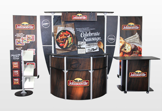 Exhibit Line Display Booth Kit with Reception Desks and Counter for Cook Top