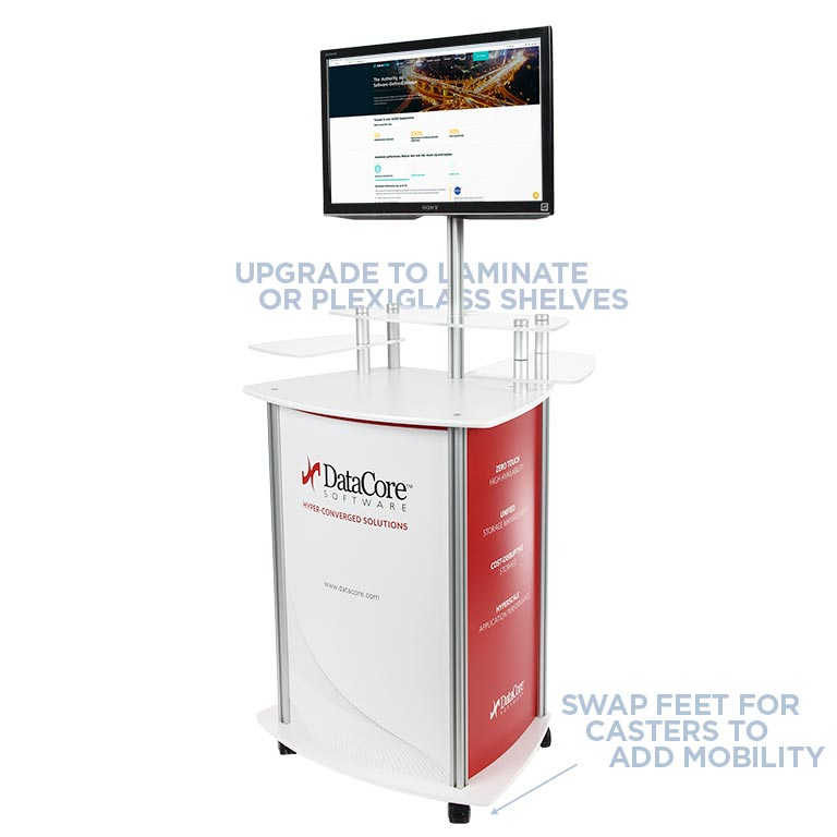 MultiMedia Twist Kiosk in White Laminate and Plexiglass on Casters