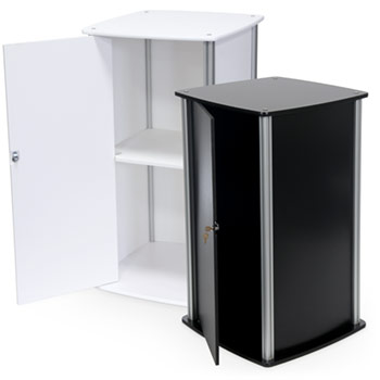 Large Square Twist Pedestal with Locking Door in White, Black or Birch