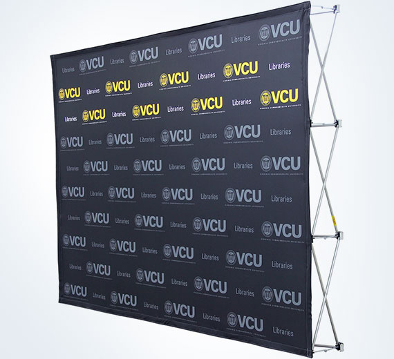 Branded Video Call Backdrop Fabric Graphic Pop-Up Display