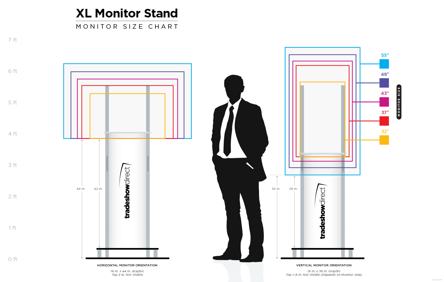Chart Showing Various Monitor Sizes on the XL Monitor Stand